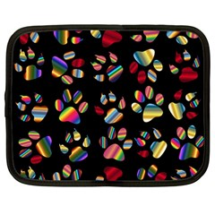 Colorful Paw Prints Pattern Background Reinvigorated Netbook Case (Large)