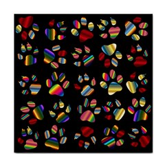 Colorful Paw Prints Pattern Background Reinvigorated Face Towel