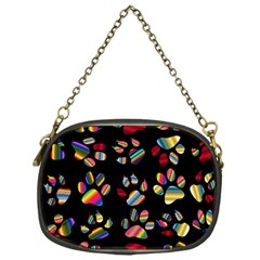 Colorful Paw Prints Pattern Background Reinvigorated Chain Purses (one Side)