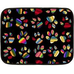 Colorful Paw Prints Pattern Background Reinvigorated Double Sided Fleece Blanket (mini)