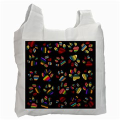 Colorful Paw Prints Pattern Background Reinvigorated Recycle Bag (one Side)