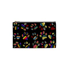 Colorful Paw Prints Pattern Background Reinvigorated Cosmetic Bag (Small)