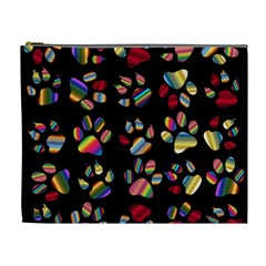 Colorful Paw Prints Pattern Background Reinvigorated Cosmetic Bag (xl)