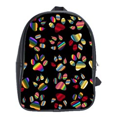 Colorful Paw Prints Pattern Background Reinvigorated School Bags(large)
