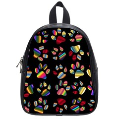 Colorful Paw Prints Pattern Background Reinvigorated School Bags (Small)