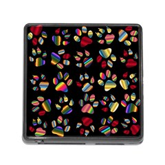Colorful Paw Prints Pattern Background Reinvigorated Memory Card Reader (Square)