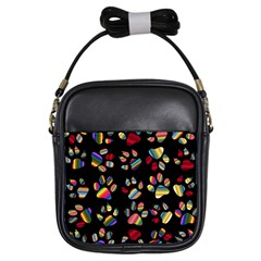 Colorful Paw Prints Pattern Background Reinvigorated Girls Sling Bags