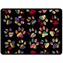 Colorful Paw Prints Pattern Background Reinvigorated Fleece Blanket (Large)