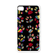 Colorful Paw Prints Pattern Background Reinvigorated Apple iPhone 4 Case (White)