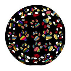 Colorful Paw Prints Pattern Background Reinvigorated Round Filigree Ornament (Two Sides)