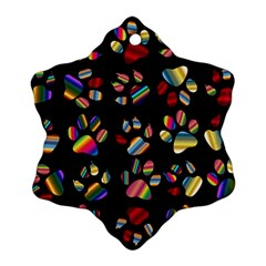Colorful Paw Prints Pattern Background Reinvigorated Snowflake Ornament (two Sides)