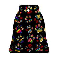 Colorful Paw Prints Pattern Background Reinvigorated Bell Ornament (two Sides)