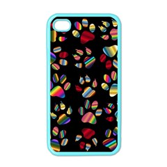 Colorful Paw Prints Pattern Background Reinvigorated Apple iPhone 4 Case (Color)