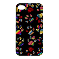Colorful Paw Prints Pattern Background Reinvigorated Apple Iphone 4/4s Hardshell Case