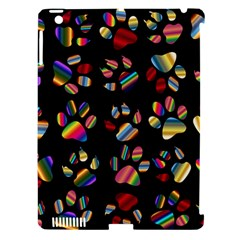 Colorful Paw Prints Pattern Background Reinvigorated Apple Ipad 3/4 Hardshell Case (compatible With Smart Cover)