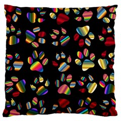 Colorful Paw Prints Pattern Background Reinvigorated Large Cushion Case (one Side)
