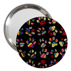 Colorful Paw Prints Pattern Background Reinvigorated 3  Handbag Mirrors