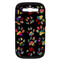 Colorful Paw Prints Pattern Background Reinvigorated Samsung Galaxy S Iii Hardshell Case (pc+silicone)