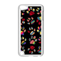 Colorful Paw Prints Pattern Background Reinvigorated Apple iPod Touch 5 Case (White)
