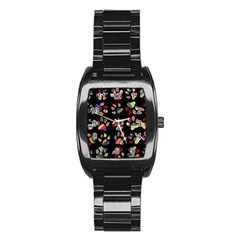 Colorful Paw Prints Pattern Background Reinvigorated Stainless Steel Barrel Watch