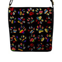 Colorful Paw Prints Pattern Background Reinvigorated Flap Messenger Bag (l)