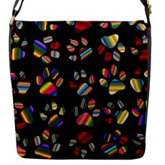 Colorful Paw Prints Pattern Background Reinvigorated Flap Messenger Bag (S)