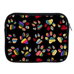 Colorful Paw Prints Pattern Background Reinvigorated Apple Ipad 2/3/4 Zipper Cases