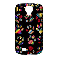 Colorful Paw Prints Pattern Background Reinvigorated Samsung Galaxy S4 Classic Hardshell Case (pc+silicone)