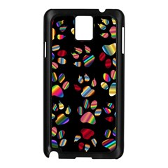 Colorful Paw Prints Pattern Background Reinvigorated Samsung Galaxy Note 3 N9005 Case (black)