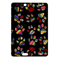 Colorful Paw Prints Pattern Background Reinvigorated Amazon Kindle Fire HD (2013) Hardshell Case