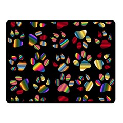 Colorful Paw Prints Pattern Background Reinvigorated Double Sided Fleece Blanket (small)
