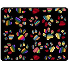 Colorful Paw Prints Pattern Background Reinvigorated Double Sided Fleece Blanket (medium)