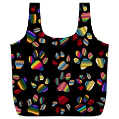 Colorful Paw Prints Pattern Background Reinvigorated Full Print Recycle Bags (l)