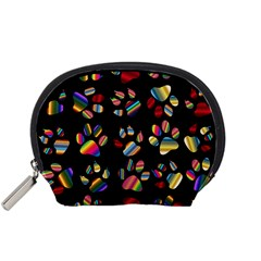 Colorful Paw Prints Pattern Background Reinvigorated Accessory Pouches (small)