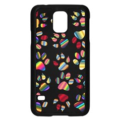Colorful Paw Prints Pattern Background Reinvigorated Samsung Galaxy S5 Case (black)