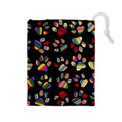 Colorful Paw Prints Pattern Background Reinvigorated Drawstring Pouches (large)