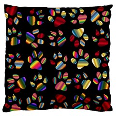 Colorful Paw Prints Pattern Background Reinvigorated Standard Flano Cushion Case (one Side)