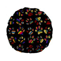 Colorful Paw Prints Pattern Background Reinvigorated Standard 15  Premium Flano Round Cushions