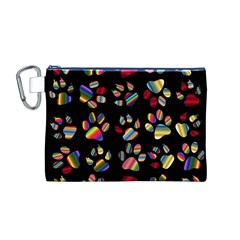 Colorful Paw Prints Pattern Background Reinvigorated Canvas Cosmetic Bag (m)