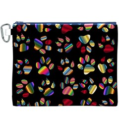 Colorful Paw Prints Pattern Background Reinvigorated Canvas Cosmetic Bag (XXXL)