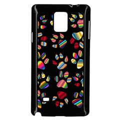 Colorful Paw Prints Pattern Background Reinvigorated Samsung Galaxy Note 4 Case (black)