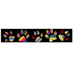 Colorful Paw Prints Pattern Background Reinvigorated Flano Scarf (large)