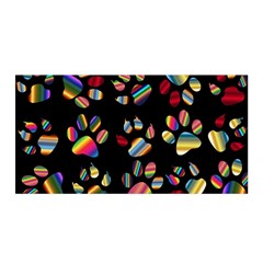 Colorful Paw Prints Pattern Background Reinvigorated Satin Wrap