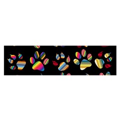 Colorful Paw Prints Pattern Background Reinvigorated Satin Scarf (oblong)