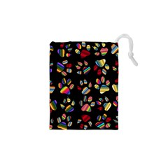 Colorful Paw Prints Pattern Background Reinvigorated Drawstring Pouches (xs)