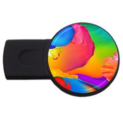 Paint Rainbow Color Blue Red Green Blue Purple USB Flash Drive Round (4 GB)