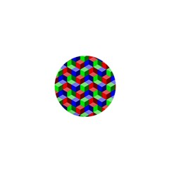 Seamless Rgb Isometric Cubes Pattern 1  Mini Buttons