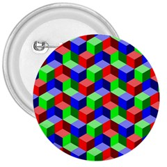 Seamless Rgb Isometric Cubes Pattern 3  Buttons