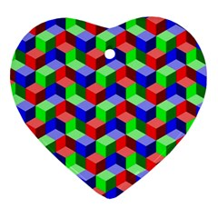 Seamless Rgb Isometric Cubes Pattern Ornament (Heart)