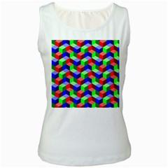 Seamless Rgb Isometric Cubes Pattern Women s White Tank Top